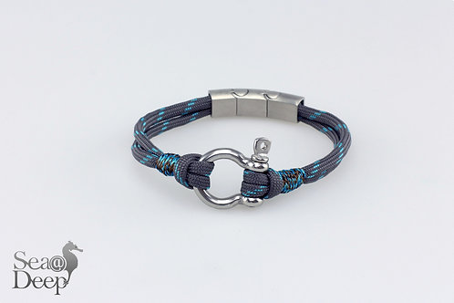 Silver Shackle Grey &  Blue Rope