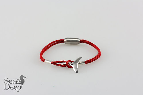 Silver Whale Tail Red Rope