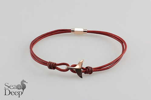 Silver Whale Tail Red Leather