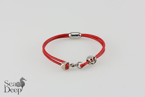 Silver Anchor -Red Leather Rope
