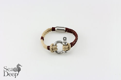 Silver Shackle Mixed Brown Rope