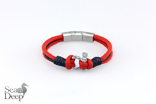 Silver Shackle Red Orange Rope