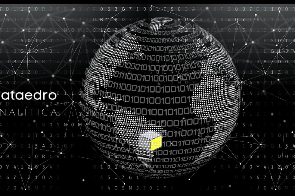 Logo Dataedro - imagem de um globo terrestre binário, sobre um fundo de caracteres aleatórios