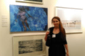 Abi Whitlock winning Young Artist Award at National Open Art Competition with 'With the Current'