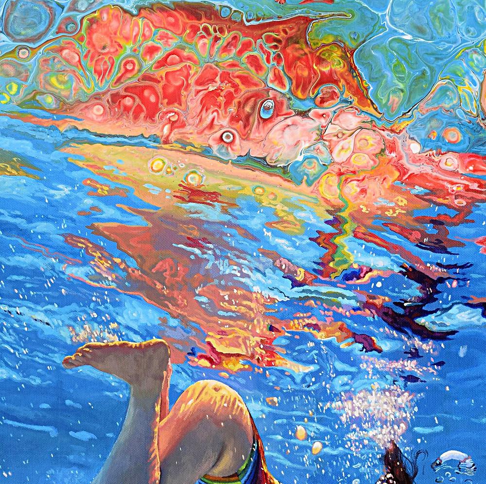 Underwater painting, rainbow art, swimming, patterns