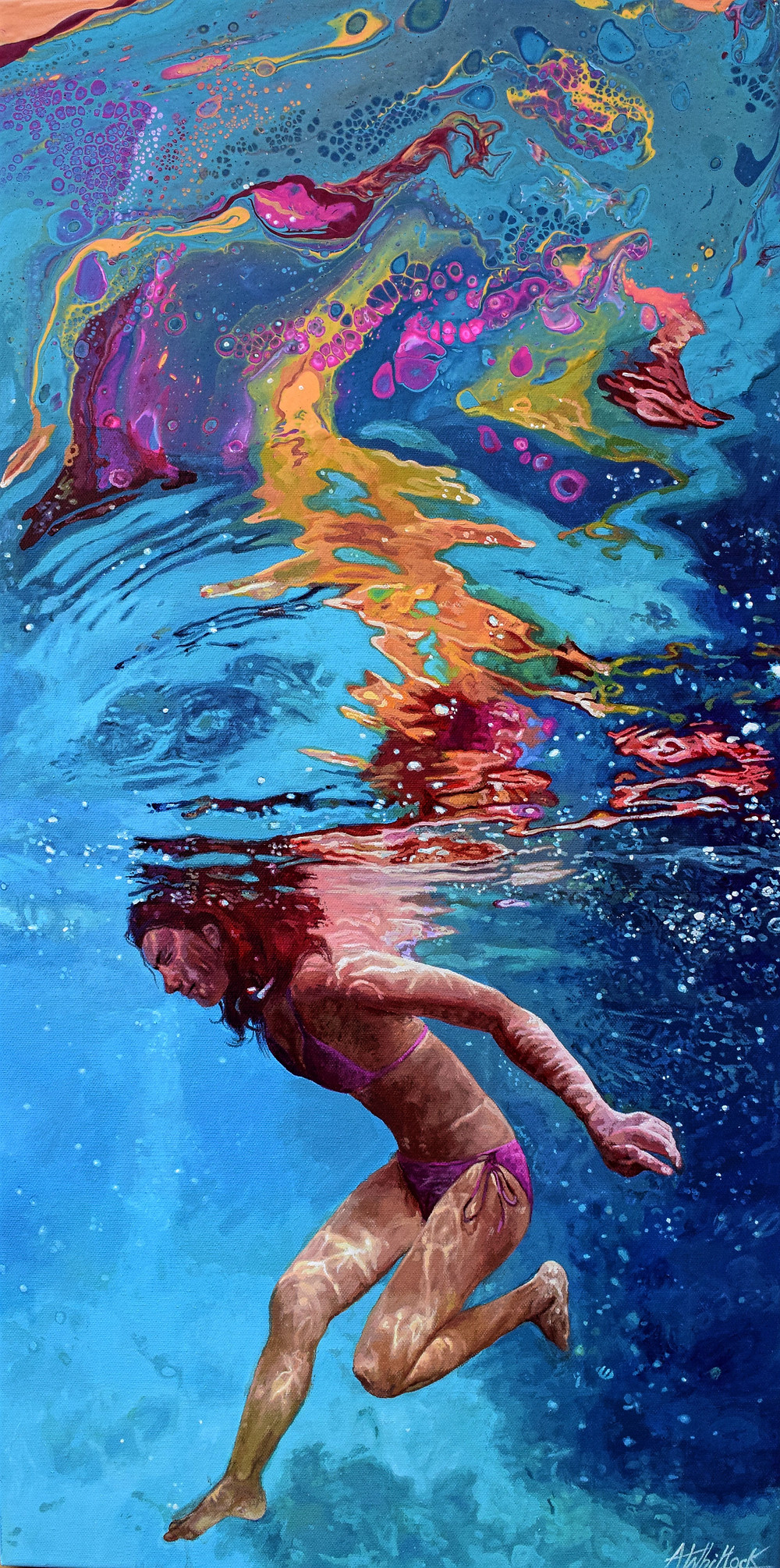 painting, contemporary artwork, colourful, underwater, swimming, painting