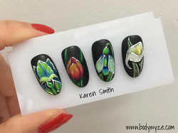 flowers nails freehand