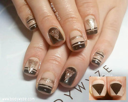 gold black geo nail art