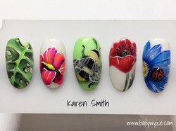 flowers , bee and ladybird nails