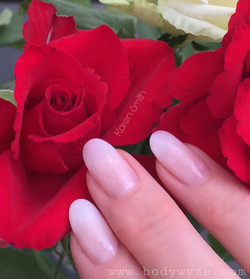 sculptured baby boomer nails with rose b