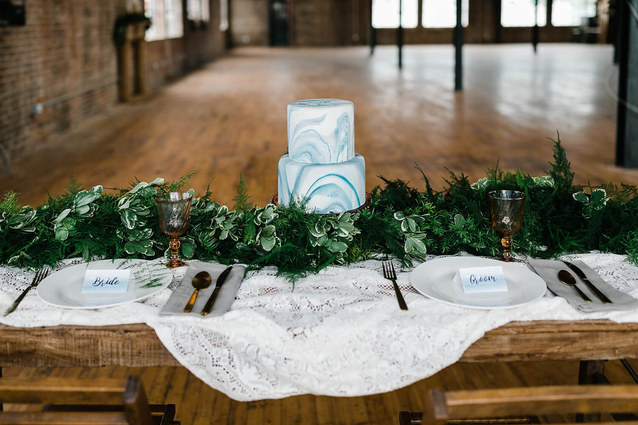 Photo by Megan Taylor Photography / Drift Salvage and Decor accessory rentals/ Lavender Blue Floral