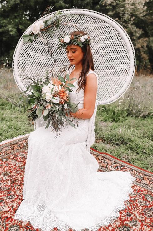 Boho wedding photoshoot - Drift Salvage and Decor furniture rentals