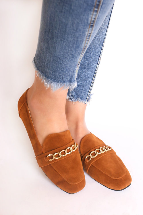 Rectangular Gold Chain Camel Loafers