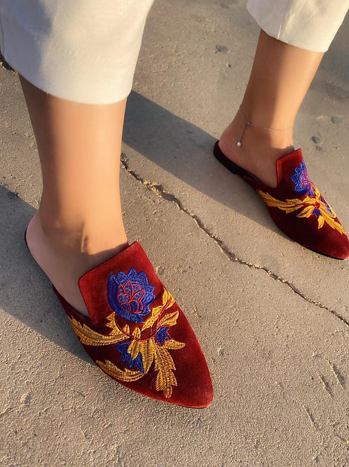 Burgundy Embroidered Mules