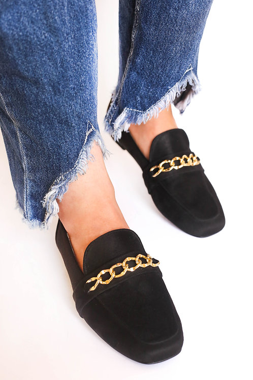 Rectangular Gold Chain Loafers