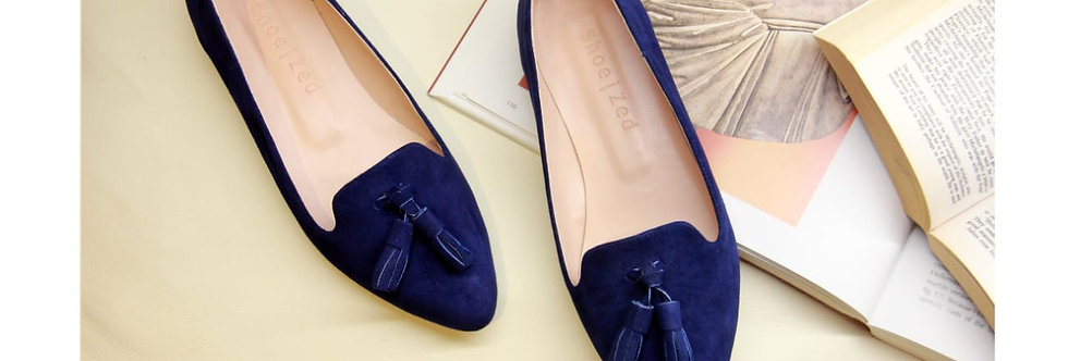 Navy Blue Classic Pointed Tasseled Flats