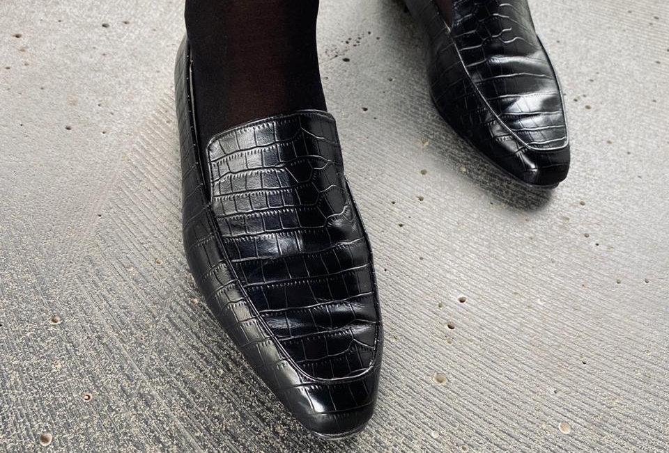 Crocodile power square toe loafers