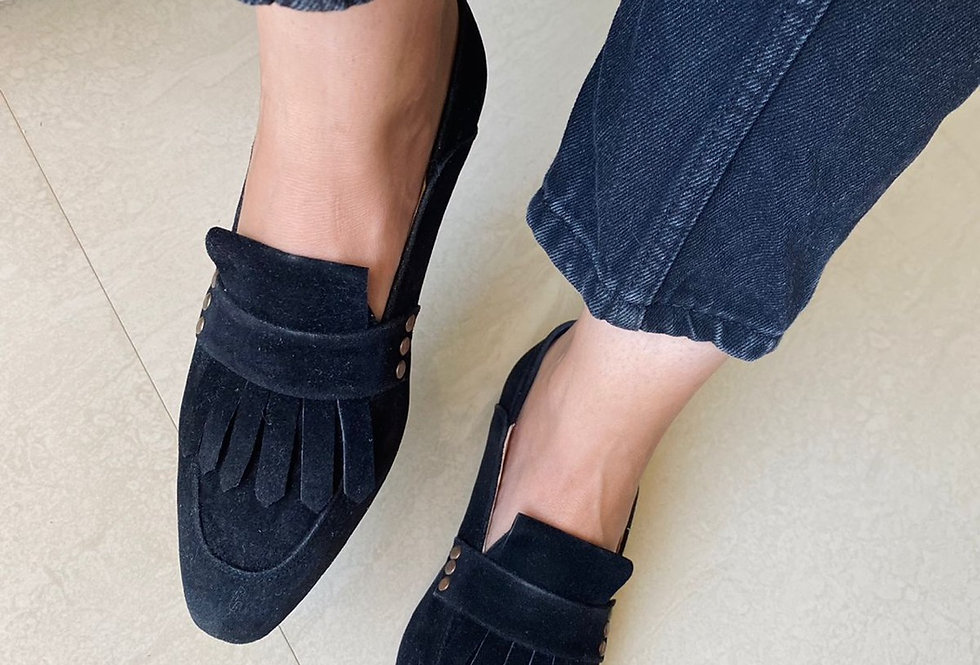 Black Fringed Square Toe Loafers
