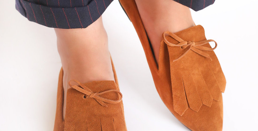 Camel Fringed Suede Loafers