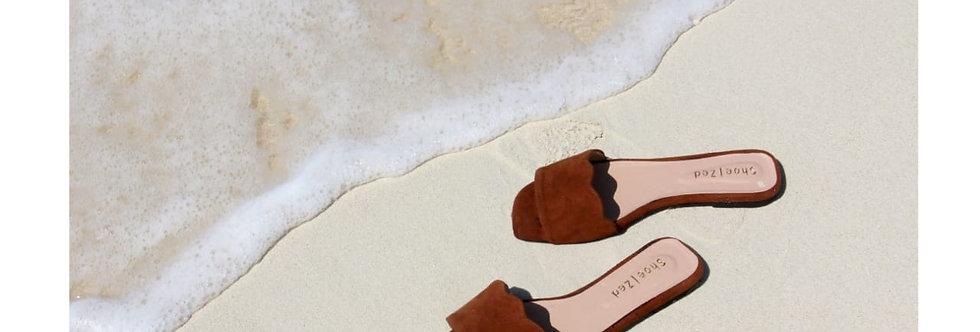Scalloped Slides Flat Sandals