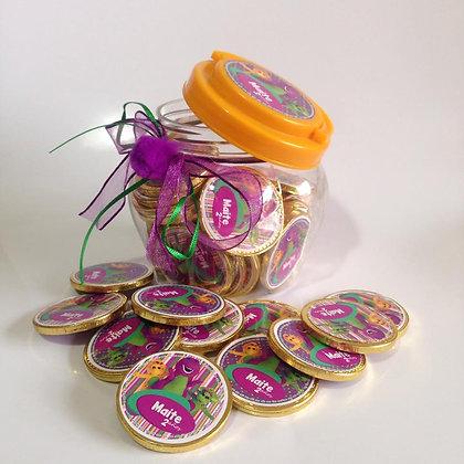 Cofre 50 monedas de chocolate personalizadas