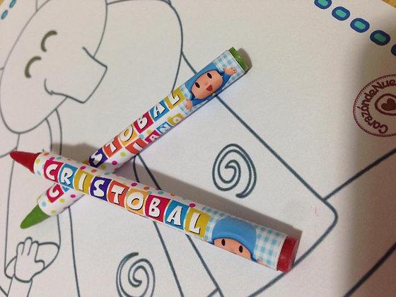 Individuales para colorear + lápices personalizado