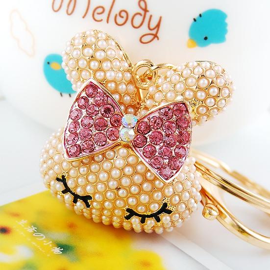 Llavero y accesorio para cartera: Kitty con moña