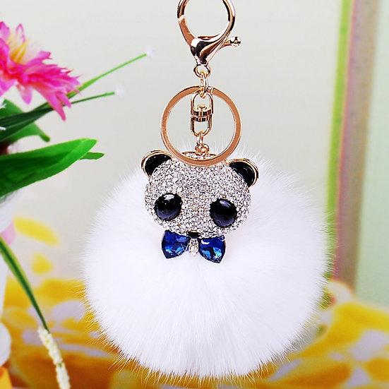 Llavero y accesorio para cartera: oso panda con pompón
