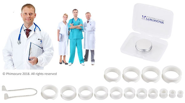 Phimosis rings shown in size order, with foreskin stretching cream