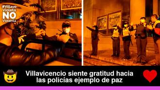 Villavicenses agradecieron a mujeres policías por proteger a los manifestantes