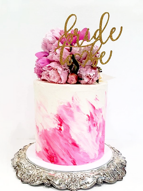 Hand Painted Buttercream Cake with Fresh Flowers