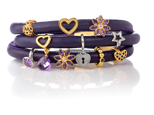 Leather Bracelets and Charms
