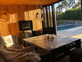 Pool House piscine chauffée cap ferret hôte chambre d'hôtes océan surf