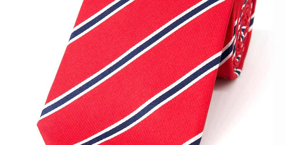 Red + Navy Stripe Woven