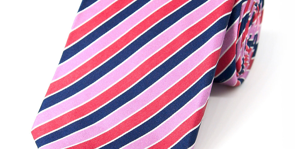 Pink + Navy Stripe Woven