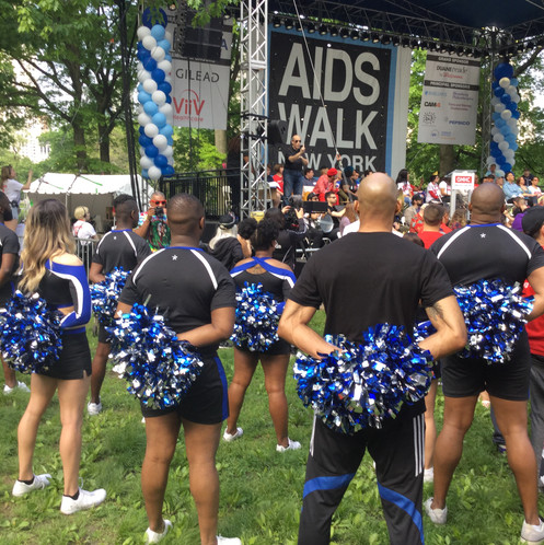 NYC adult gay cheerleadering for the AIDS Walk New York Opening Ceremony
