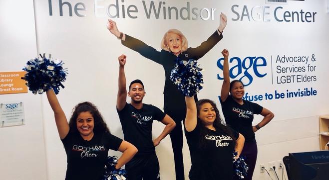 Gotham Cheer cheerleaders Volunteer at Sage offices in chelsea NYC