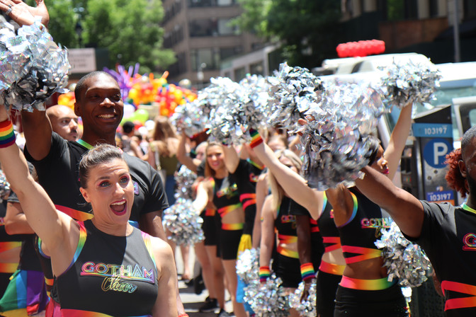 Gotham Cheer cheerleaders cheering at NYC World Pride 2019