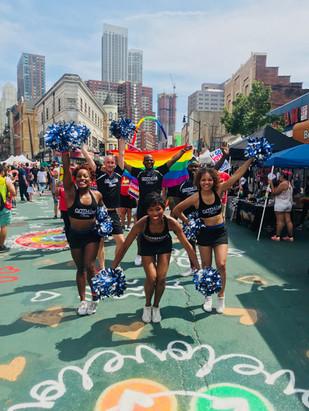 gotham cheer cheerleaders at Jersey City gay Pride Parade 2018