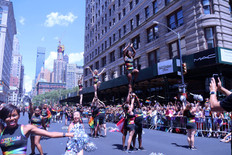 Gotham Cheer cheerleaders performing on 5th Avenue at NYC world pride parade 2019