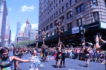 Gotham Cheer cheerleaders performing on 5th Avenue at NYC world pride parade 2019