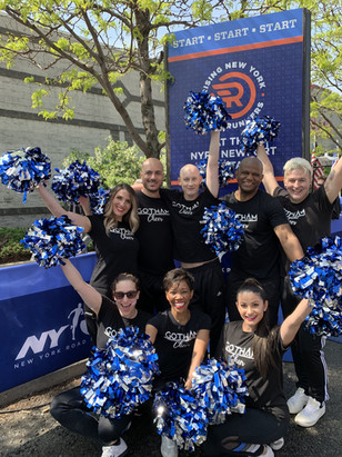 Gotham Cheer cheerleaders at NYRR Rising New York Road Runners Fiesta 5k Race