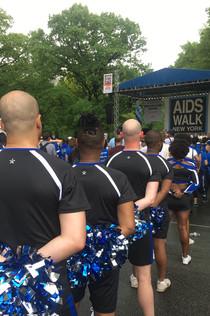 Gotham Cheer cheerleaders at  AIDS Walk New York Opening Ceremony