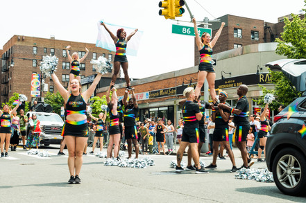 gotham cheer cheerleaders in Queens Jackson Heights at gay pride parade