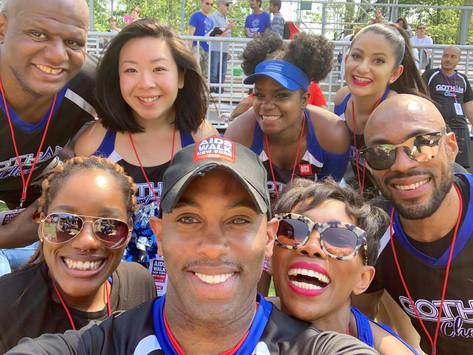 NYC adult gay cheerleaders Gotham Cheer at  AIDS Walk New York Post Walk Concert