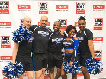 Gotham Cheer cheerleaders team photo at AIDS Walk New York