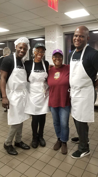 Gotham Cheer at God's Love We Deliver preparing meals for delivery