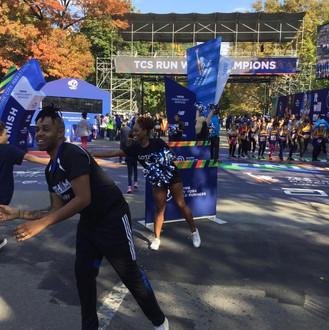 Gotham Cheer cheerleaders at NYRR Rising New York Road Runners TCS Run with Champions Race