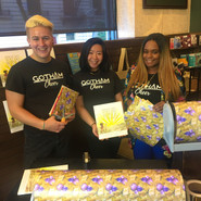 gotham cheer Mothers Day gift wrapping for charity at Barnes and Noble