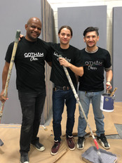 gotham cheer cheerleader volunteer painting for charity event Bailey House Gala NYC